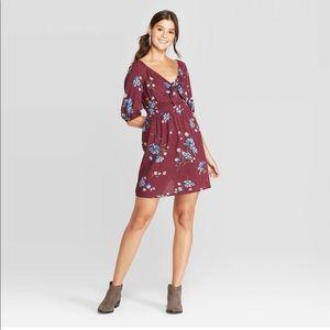 Xhilaration Floral Mini Dress Plum XXL